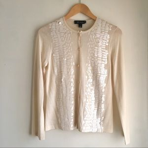 St. John Cream Cardigan Sweater With Sequins Small